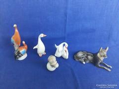 Hollóházi állat figurák 5 db.