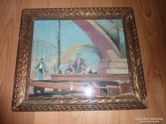 Hídépítők, régi olaj-karton, j.n.