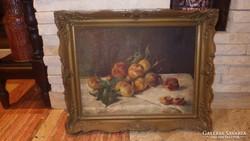 Jelzett régi gyümölcs csendélet festmény