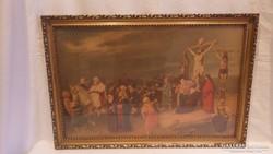 Üvegezett arany - fa képkeret falc 36x56 cm