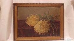 Jelzett virágcsendélet festmény - olaj - fa