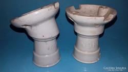 Antik 2 db porcelán foglalat