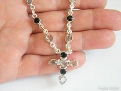 Herkimer gyémánt és Ónix köves,ezüst nyaklánc