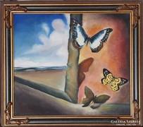 Salvador Dalí: Cím nélkül. (Táj lepkékkel.) Reprodukció.