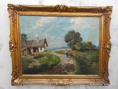 Neogrády László eredeti festménye garanciával.Nyár a tanyán