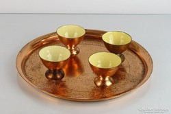 0L559 Zománcozott török 4 személyes teáskészlet