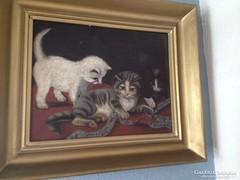 Antik cicás festmény - mély keretben