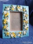 Régi, kézzel készített bájos fényképtartó, 12 x 9,5 cm