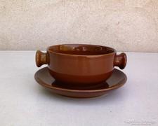 Barna kerámia leveses csésze + kis tányér