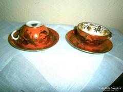 2+2 db Antik kézzel festett mokkás csésze+ csészealj