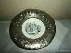 Antik jelzett  alpakka kínáló porcelán tálkával
