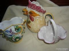 3 kerámia locsoló váza kosárka