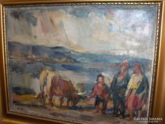 P.Bak János: Beszélgetők c. festménye