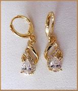 18 Karátos arany -gold filled- fülbevaló AAA cirkon
