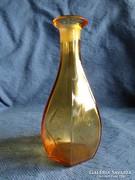 Antik 6 szögletű borostyán likőrös palack, kiöntő, 18 cm