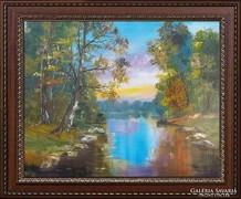 ---Patakpart Örzői--tájkép festmény