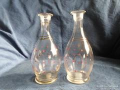 Antik, kézzel festett üveg kiöntők párban, együtt, 18 cm