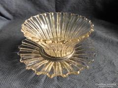 Antik, nehéz üveg, virág alakú kínáló szett, 17 x 8 cm