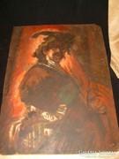 Rembrandt önarckép élénk sz.olaj festmény 46x34cm