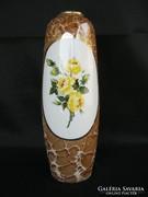 Nagy 25 cm-es Hollóházi porcelán sárga rózsás váza