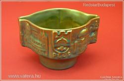 Gyönyörű ZSOLNAY EOZIN Pécs motívumos váza régi öttornyos