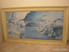 Csontváry stílusú akvarell festmény 90x 50 cm
