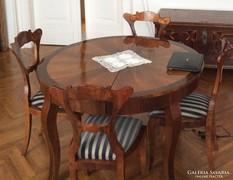 Biedermeier ebédlőasztal 6 db. székkel, hibátlan!