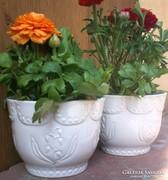 2 db porcelán kaspó együtt, (Zsolnay) gyöngyvirágos