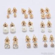 9 pár átszúrós fülbevaló- gyönggyel, kővel