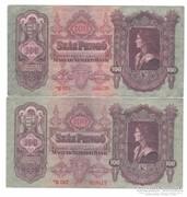 100 Pengő 1930 2 darab Csillagos  Bomba jó áron!!!