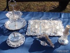 Ezüstözött asztali teás- süteményes készlet