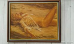 Gubcsi Attila:(+AJÁNDÉKOK) PIHEnő, fél akt, olaj festmény