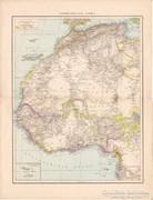 Északnyugat - Afrika, Antillák, koloniák térkép 1887, német