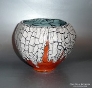 Gorka Géza kaspó narancs és fehér színben