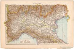 Felső - Olaszország térkép 1887, német, eredeti, régi