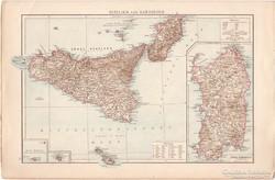 Szicília és Szardínia, Alpok térkép 1887, német, eredeti