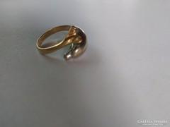 14 karátos fehér-sárga arany delfines gyűrű