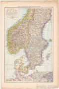 Dél - Skandinávia és Északnyugat - Franciaország térkép 1887