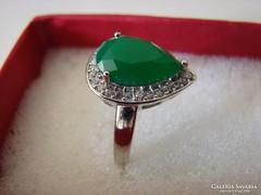 925 ezüst gyűrű fazettált  Jade köves