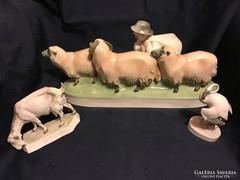 Zsolnay zsákos fiú birkákkal, flamingó, kecske