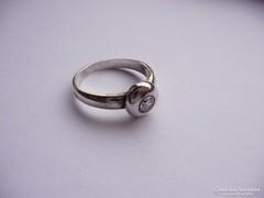 Ezüst button foglalatú gyűrű