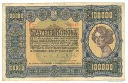 100000 korona 1923 I. Eredeti