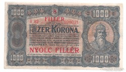 1000 korona 8 fillér felülbélyegzés 1923 Bomba jó áron!!!