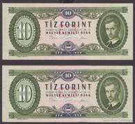 1975. két db 10 forintos, közeli számozás.