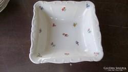 Zsolnay kocka alakú apró virágos köretes, garnirung  tál