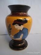 Csodálatos art new kerámia váza kézi festéssel díszítve