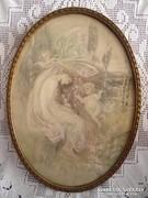 Régi selyemre festett kép ovális keretben