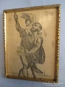Az utazók védőszentje litográfia keretben falikép
