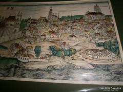 Buda látkép  paszpatúzva  (Schedel Kronika) 55 cm X 33 cm