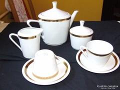 Porcelán,aranyozott szélű, teás készlet